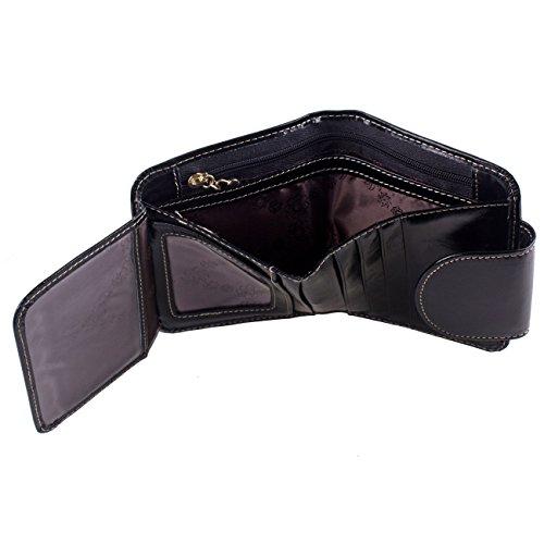 AINIMOER Women's Small Billfold Genuine Leather Tri-Fold Wallet with Zipper Pocket(Black)