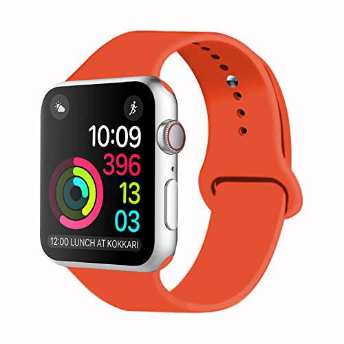 Idon Sport Watch Band, Soft Silicone Replacement Sports Band Compatible with Smart Watch Band 2018 Series 4/3/2/1 38MM 40MM 42MM 44MM for Smart Watch All Models(Orange,42MM S/M)