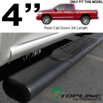 "Topline Autopart 4"" Oval Matte Black Side Step Nerf Bars Rail Running Boards For 02-08 Dodge Ram 1500 ; 03-09 2500/3500 Quad (Crew) Cab"