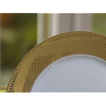 Image of Calvin Klein Eternity Grandeur Gold Squares 68 Piece Dinner, Porcelain White, 55 x 50 x 50 cm Dinnerware Sets