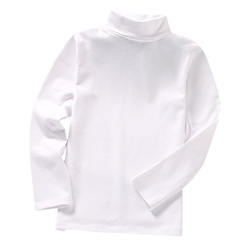 Evelin LEE Girls Basic Solid Color Turtleneck T-Shirt Tops Long Sleeve ()
