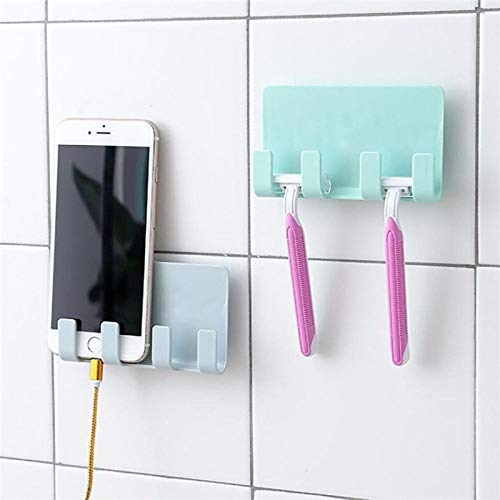 Shower Phone Holder Stick on Hooks | Adhesive Small Wall Shelf | Used as Cellphone Wall Mount, Bed Side Shelf, Wall Mounted Charging Station | Shower Phone Mount Bath Accessories (Light Blue)