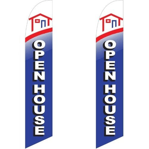 Twin Pack Full Sleeve Swooper Flags OPEN HOUSE Home Red White Blue - Homes Message Flag