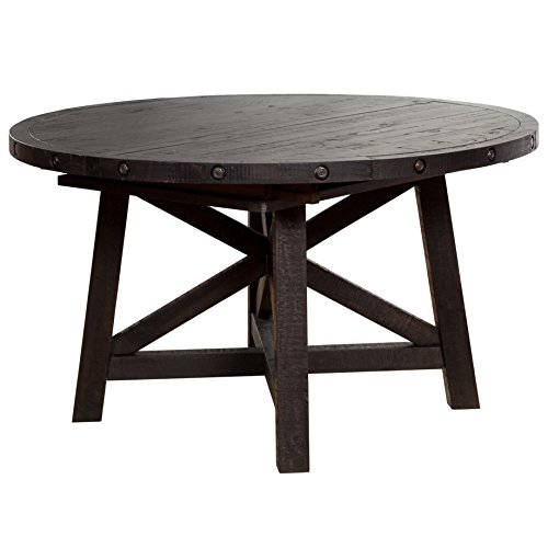 Wood Top Oval Extension Table (Modus Furniture 7YC961R Yosemite Solid Wood Round Extension Table, Black Pine)