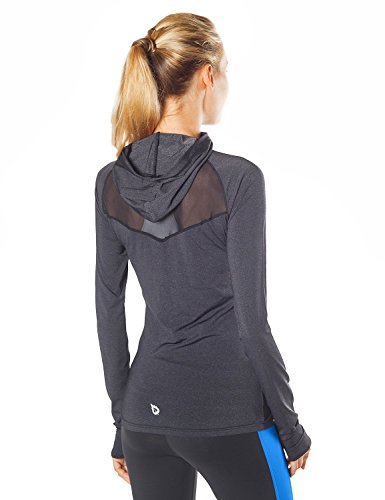 Baleaf Women's 1/2 Zip Running Shirt Mesh Cool Workout Jacket Blue Size M Athletic Mesh Pullover