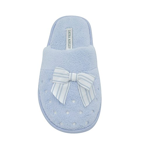 Dots Slippers Blue Terry Soft Ladies Scuff Laura Bow Embroidered Ashley xwqIYztT