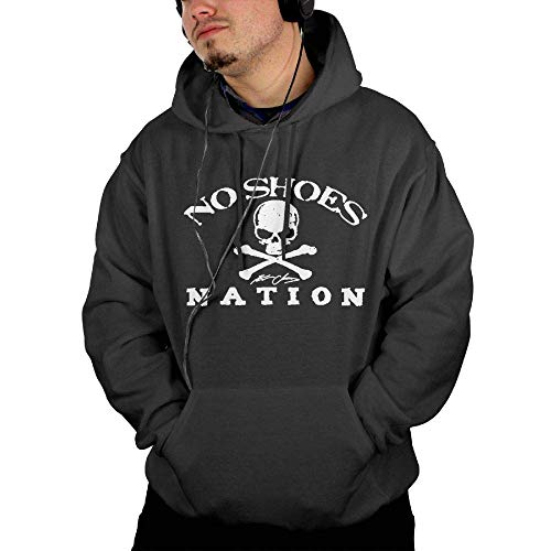 - ZFSM Men Kenny Chesney No Shoes Nation Cotton Black Hoodies with Pocket L