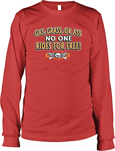 Pin Up Red Riding Hood (Hoodteez Gas, Grass Ass, No One Rides for Free Men's Long Sleeve Shirt, L)
