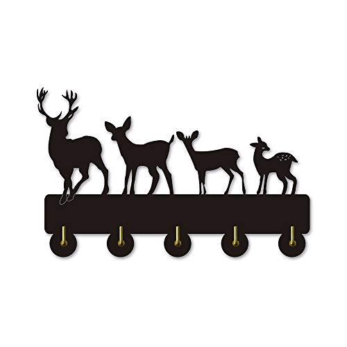 qiumeixia1 Deer Family Wall Door Clothes Coat Hooks Hat Hanger Key Holder Wildlife Animals Kitchen Bathroom Towel Kitchen Decor Hook