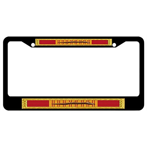 (URCustomPro Republic of Vietnam Gallantry Cross Unit Citation - AFNMCCG Frame Black License Plate Frame Military Pride, 2 Holes Stainless Steel Auto Car License Plate Cover Holder for US Standard)
