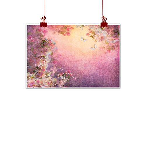 Bar Cherry Wine Hill (Mangooly Decorative Music Urban Graffiti Art Print Art,Enchanted Cherry Blossom Petals Field Shabby Chic Floral Garden Spring Picture,Light Pink Peach 28