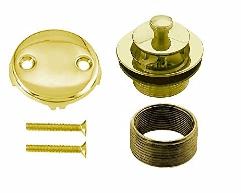 Westbrass D94K-01 Universal Fine or Coarse Thread Replacement Twist & Close Strainer Drain with 2-Hole Faceplate and Screws, Polished (Bathtub Overflow Elbow)