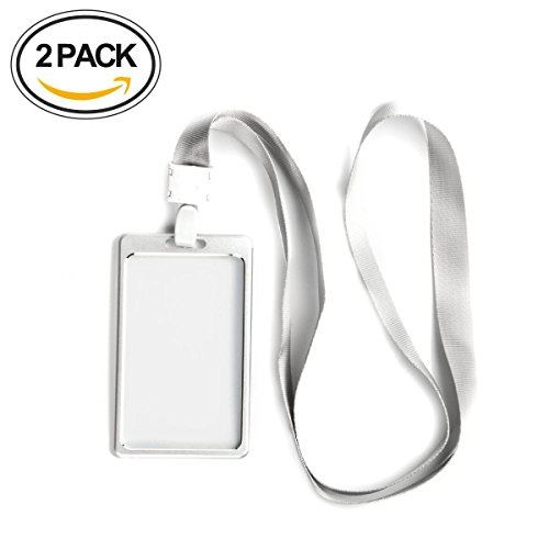2 Pcs Aluminum Badge Holder Vertical Style with Detachable Neck Lanyard (Silver)