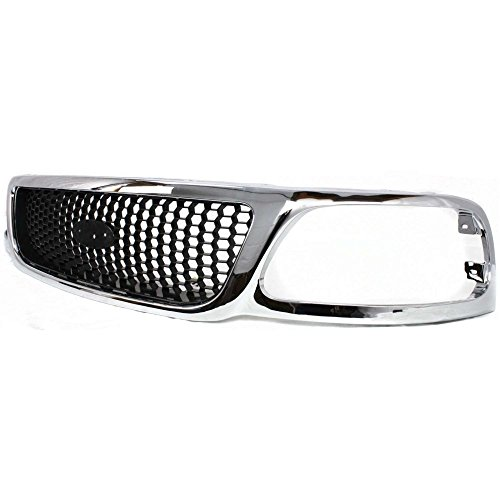 Grille for Ford F-150 99-03//F-250 99-99 Honeycomb Chrome Shell W//Black Insert XL//XLT//Lariat Models 4WD