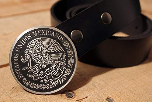 Mexican Flag Belt Buckle MEXICO Etched Metal