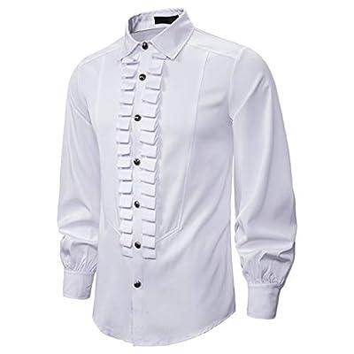 HDGTSA Men's Renaissance Ruffle Front Pirate Shirt Bandage Long Sleeve Medieval Tops Gothic Blouse