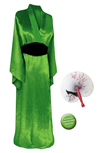 Geisha Costume Sash (Solid Green Geisha Robe Plus Size Supersize Halloween Costume Basic Kit 5X-6X)
