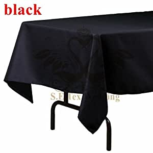 1 Lot of Rectangular 100% Poly Table Cloth In Black Color For Wedding Decoration