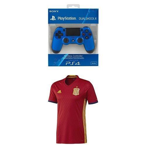 Sony - Mando Dualshock 4, Color Azul (PS4) + 1ª Equipación Selección Española de Fútbol Euro 2016 - Camiseta oficial adidas, talla M Authentic: Amazon.es: ...