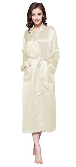 63ab7b2582 LILYSILK Women s 100 Pure Silk Dressing Gown Ladies Long Robe Kimono with  Contra Trim 22 Momme