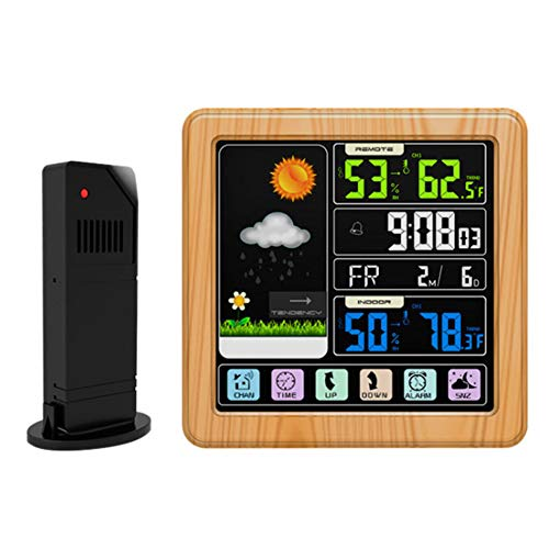 Thermometer Hygrometer Digital Weather Station Alarm Clock LCD Touch Screen Wireless Weather Forecast USB Rechargeable Barometer,Yellow