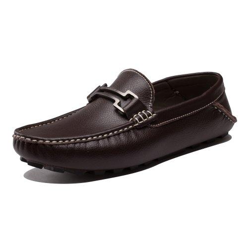 Ausland Mens Klassisk Slip-on Loafer Tillfällig Båt Sko 6681 Kaffe