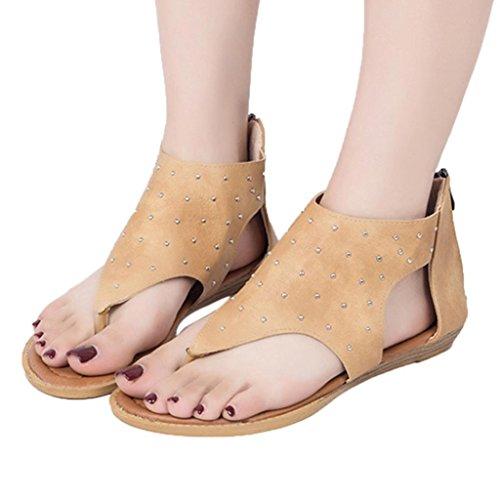 Clearance! CieKen Women's Sandals Lace up Summer Flats Thong Flip Flop Sandals (Brown, US:6)