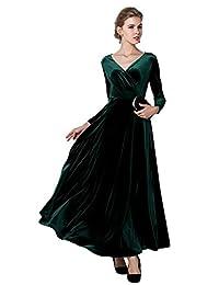 Urban CoCo Women Long sleeve Velvet Stretchy Tunic Dress
