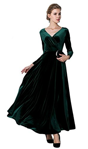 EXCHIC Women Elegant Velvet Long Dress Evening Party Dancing Dress V-Neck Long Sleeve (M, Green)