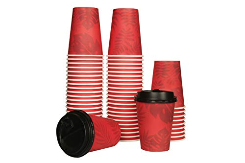 100 PACK, Disposable Coffee Cups, with Lids, 12 OZ Coffee Paper Cups, Red Design, To Go Coffee Cups, Great Travel Cups For Hot and Cold Beverages, Solid, Durable, Leak-proof Cups with Tight Lids