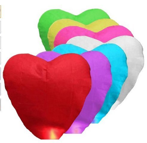 50 Pcs Assorted Color Heart Shape Chinese Paper Lanterns Sky Fire Fly Candle Lamp for Wish Wedding (Paper Candle Lanterns)