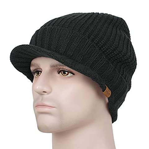 Janey&Rubbins Men's Stylish Knit Visor Brim Beanie Hats Fleece Lined Skull Ski Caps (Dark gray)