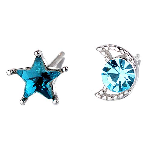 925 Sterling Silver Plated Irregular Sky Blue Sapphire Crystal Moon and Star Earrings Stud Earring
