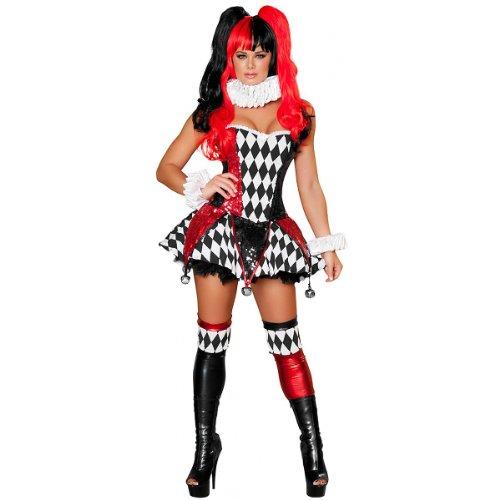 Roma Costume 3 Piece Court Jester Cutie Costume, Black/Red, Large