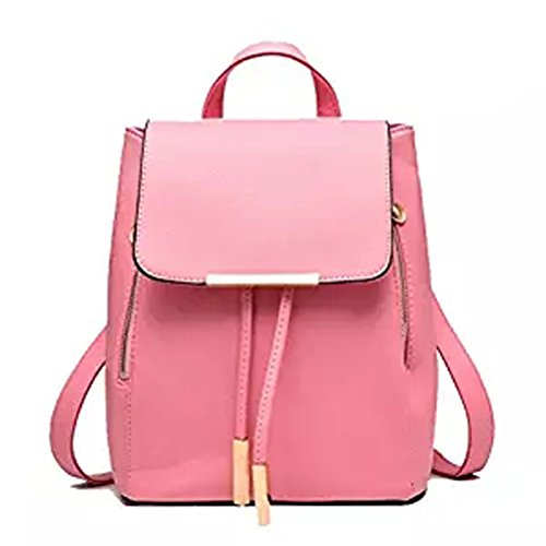 Pu School Travel Backpack Double Zipper Bag Ltpink Candy Women Leather Donalworld Closure Black pwYRRq
