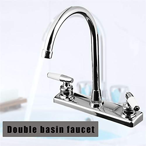 (Silver RV Double Handle Double Basin Kitchen Faucet Tap Single Hole Water Tap Torneira Cozinha Cold And Hot Mixer Tap )