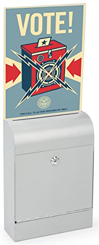 Displays2go Donation Box, Metal, Slim Profile, Locking, Holder for 8.5 x 11 Inches Sign, Hardware Included (Silver Metal) - Product Charity
