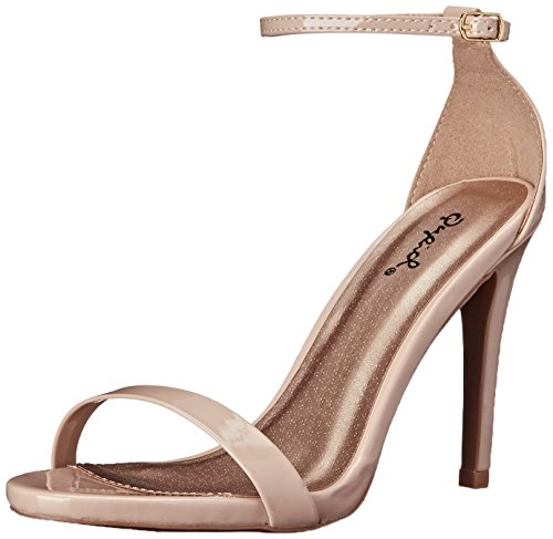 Qupid Women's Grammy-01 Dress Sandal Nude Patent- 6 B(M) US