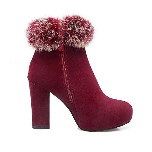 Tacco Donna Imitata In Solid Alto Top Con Boots Zipper Low Scamosciata Allhqfashion Claret Pelle tq8d6q