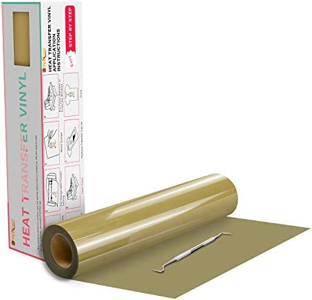 "HTVRONT HTV Vinyl Rolls Heat Transfer Vinyl - 12"" x 20ft Gold HTV Vinyl for Shirts, Iron on Vinyl for All Cutter Machine - Easy to Cut & Weed for DIY Heat Vinyl Design (Gold)"