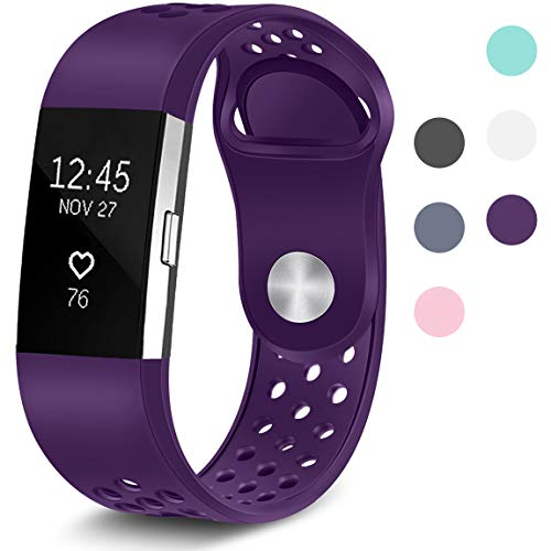 Maledan Replacement Sport Bands with Air Holes Compatible for Fitbit Charge 2, Plum, Large