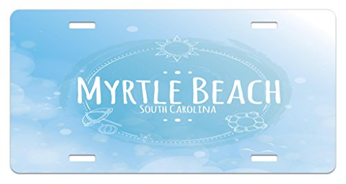 Lunarable Myrtle Beach License Plate, South Carolina Beach Lettering with Sun Umbrella and Starfish Sketch, High Gloss Aluminum Novelty Plate, 5.88 L X 11.88 W Inches, Blue Baby Blue - Plate License Umbrella