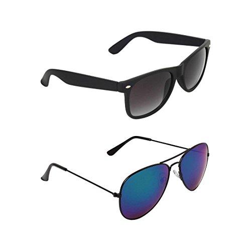 Silver Kartz Men's Wayfarer Sunglasses Black Brown by Silver Kartz