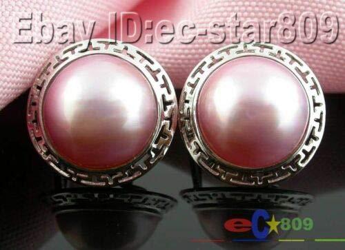(FidgetFidget D0129 Huge 20MM Pink South SEA MABE Pearl Earring&Ring&Pendant Pink Earring)