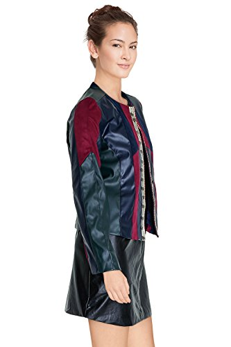 Manches 3 Similidaim En Cherry Disponible Similicuir Bi matiere Dallas Bordeaux Veste Longues Couleurs Paris Patchwork Femme q0XOWa1