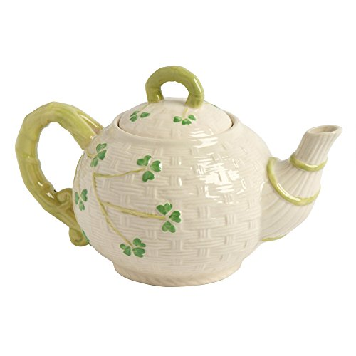 Celtic Classics Traditional Basket Weave Shamrocks Irish Design Teapot, 44-oz, White