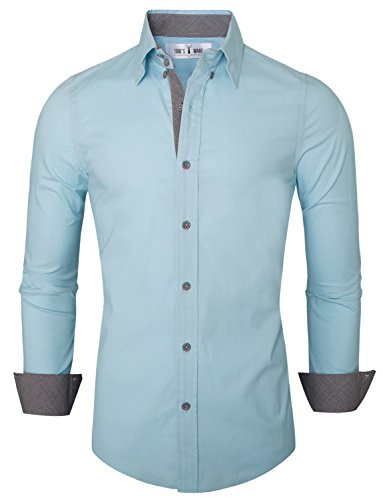 Tom's Ware Mens Premium Casual Inner Contrast Dress Shirt TWNMS314S-SKYBLUE-US M