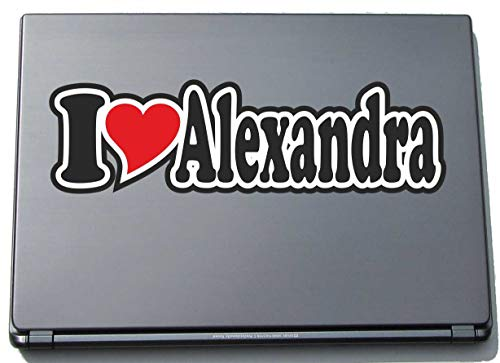 INDIGOS UG - I Love Heart Decal Sticker Laptopskin 210 mm - Name Laptop Netbook Computer - Sticker with Name of Man Woman Child - I Love Alexandra