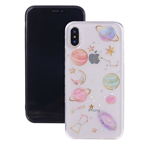 CMEKA Glitter Bling Sparkle [3D Cartoon Design Embedded] Slippy Ultra Slim Thin Flexible Soft Rubber TPU Back Cover Case Compatible with iPhone X/10/XS (Clear)