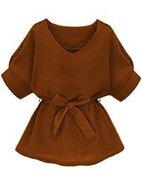 Women's V Neckline Self Tie Short Sleeve Blouse Tops